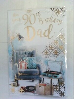 On Your 90Th Birthday Dad Birthday Card 90 Ninety Comfy Chair/Record Player (Kf)