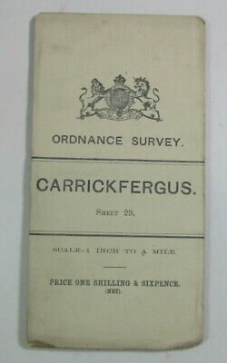 1900 Old OS Ordnance Survey Ireland One-Inch Second Edition Map 29 Carrickfergus