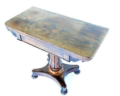 William IV Rosewood Rectangular Fold Over Card Table