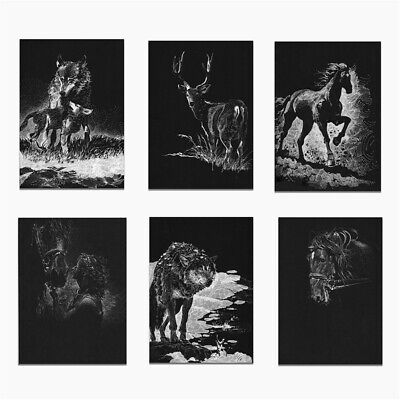 Horse Wolf Deer Animal Line Drawing Canvas Poster Black Picture Home Wall Decor