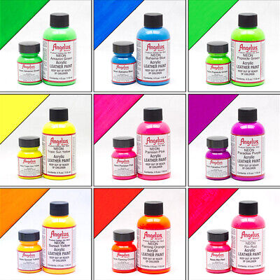 Angelus Neon Acrylic Leather Paint for Shoes Sneakers Bags 12 Colours - 1oz/ 4oz
