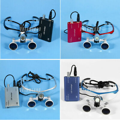 Dental Medical Binocular Loupes 3.5X 420mm Optical Glass Loupe LED Head Light UK