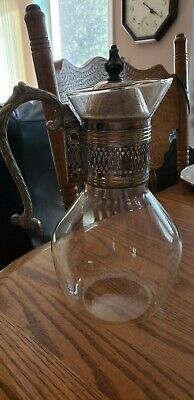 """Vintage Silverplate Coffee Carafe' -Slotted Lid -Open Ornate Side Handle - 9"""" T"""