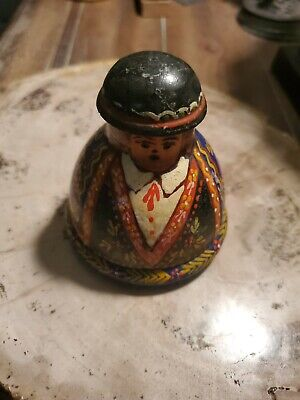Antique wooden figural folk art inkwell paint decorated Mexican?