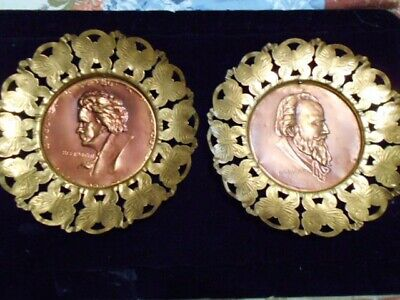 "vintage Beethoven And Brahms Copper Brass Wall Hanging Plates Plaques 7""round"