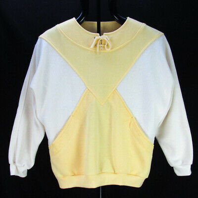 Vintage 80s Adidas Yellow Colorblock Sweatshirt M Crop Diamond Drawstring Shirt