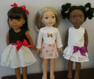 "3 Dresses for Wellie Wisher  14""Doll--S403"