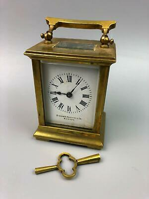 Antique French Carriage Clock Bigelow Kennard and Co Boston w Key