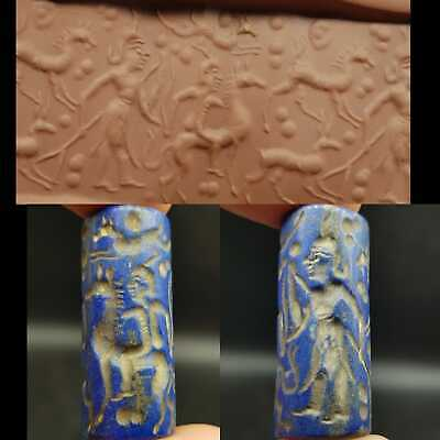 Old wonderful Lapis lazuli Ancient Stone intaglio BEAD #20