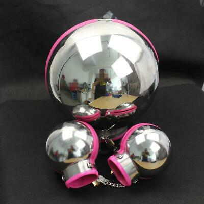 Pink STAINLESS STEEL BALL HOOD AND FIST MIT SET with PADLOCKS