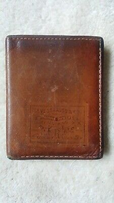 Rare Vintage Leather 1970s Levi's BI-Fold Wallet Orange Tab Made in USA