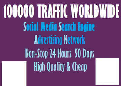 Hundred Thousand Traffic Worldwide from Search Engine and Social Media
