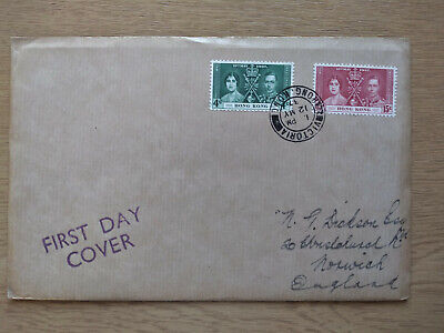 1937 King George VI Coronation first day cover, from Hong Kong to UK