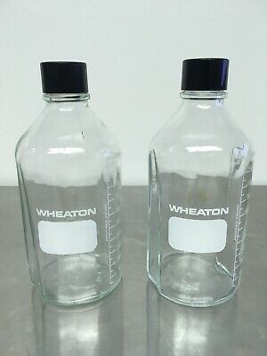 Lot of 2 Wheaton 1L Glass Media Bottles Narrow Mouth w/Caps Pre-owned Nice