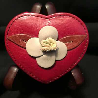 Brighton RED HEART Leather/Beige Flower Accessory COMPACT Slide-out MIRROR