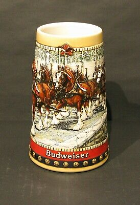 1988 Budweiser Holiday Collectors Christmas Series Beer Stein Mug Clydesdales