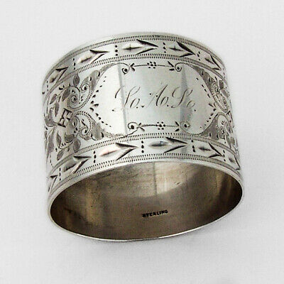 Aesthetic Bright Cut Napkin Ring Sterling Silver 1880 Mono