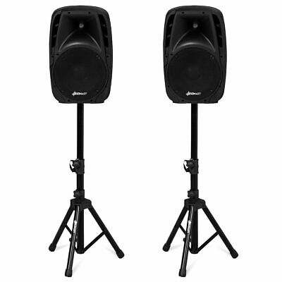 """Dual 10"""" Protable 1600W Powered Speakers w/ Bluetooth Mic Speaker Stands Outdoor"""