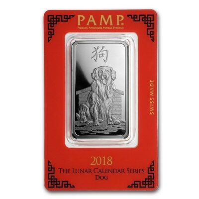 2018 ~ 1~OZ~PURE .999 SILVER~ YEAR of the DOG ~ PAMP SUISSE ~ SEALED BAR ~$48.88