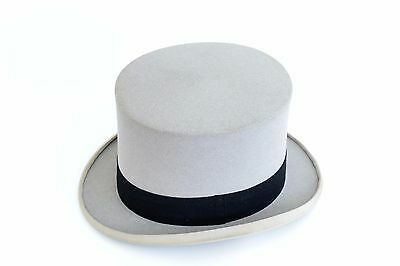 Vintage Boxed Lincoln Bennett Top Hat In Grey Size 6 3/4 With Grey Suede Gloves