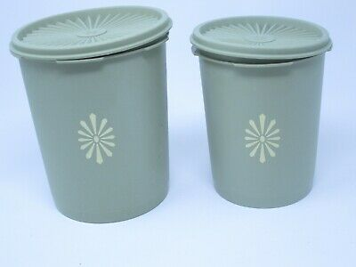 Lot of 2 Tupperware Green Canister Container #809 & 811 w Servalier Sunburst Lid