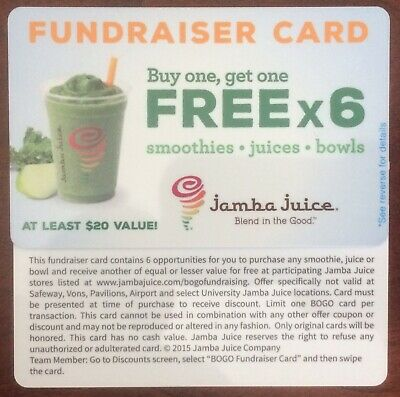 TWO Jamba Juice BOGO (6 Uses/card) - Smoothies, Juices and/or Bowls