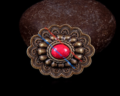 10PC Vintage Western Oval Flower Conchos DIY Leathercrafts Accessories Rivetback