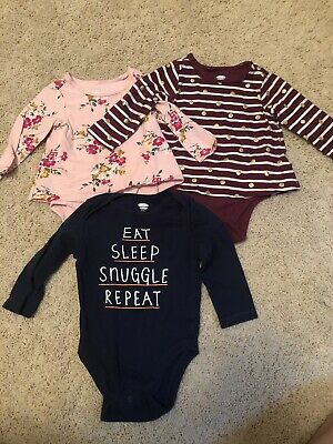Old Navy Baby Bodysuit One Piece Lot of 3 Pink Blue Polka Dots 6-12 months