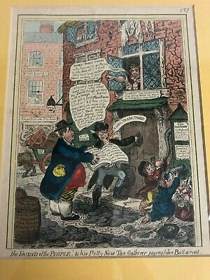 1800's Antique Colored Caricature Print/Leaf James Gillray Pitts Income Tax