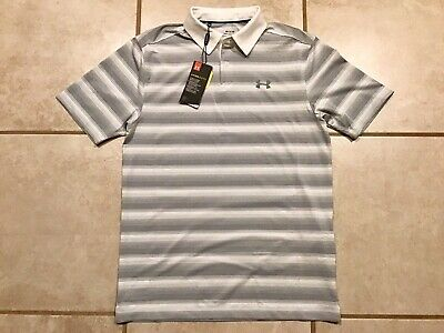 Under Armour Coolswitch White Gray Striped Polo Golf Shirt Mens Small NWT Stripe