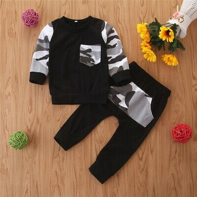 Toddler Kids Boys Long Sleeve T-Shirt And Pant 2Pcs/Sets/Outfits Tracksuit 1-4Y