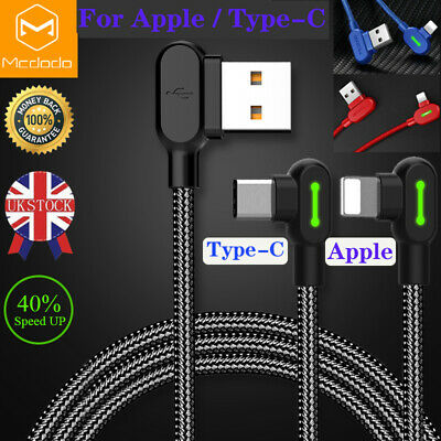 Mcdodo Fast Charging Lightning Type C Charge Cable L Shape LED USB Heavy Duty