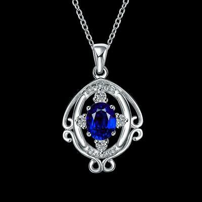 Necklace Women Jewelry 18 inches 1 x Pendant Silver Plated Precious Stone WST 01