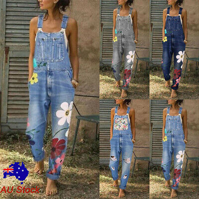 Womens Floral Denim Overalls Ladies Casual Jeans Bib Pants Jumpsuit Playsuit