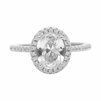 Engagement Wedding Ring Oval Halo Cubic Zirconia in 925 Sterling Silver
