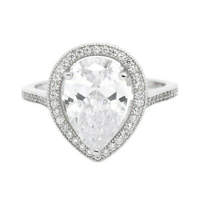 Engagement Wedding Ring Pear Halo Cubic Zirconia in 925 Sterling Silver