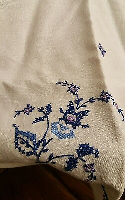 Vintage embroidered Blue Floral Tablecloth 33x32
