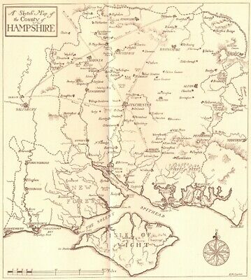 HAMPSHIRE. Sketch map. Isle of Wight. HAMPSHIRE 1909 old antique chart