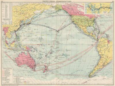 Pacific Ocean Communications. Sea routes. Steamship lines/companies 1925 map