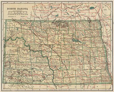 North Dakota state map showing railroads. POATES 1925 old vintage chart