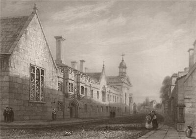 The Library of KING/'S COLLEGE Cambridge LE KEUX 1841 old antique print