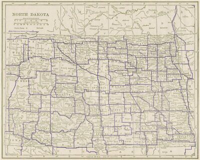 North Dakota State Highways. POATES 1925 old vintage map plan chart