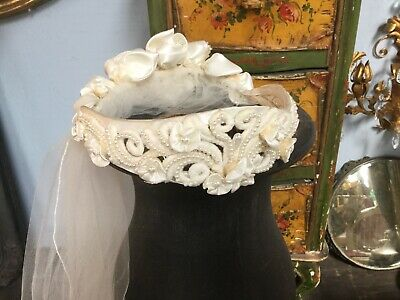 Vintage bridal~wedding veil with faux pearls~Satin Roses~tulle netting