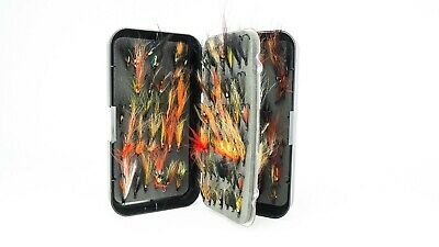 NEW GREYS LARGE DBL FLY BOX c/w GOOD SELECTION OF VERY GOOD QUALITY SALMON FLIES