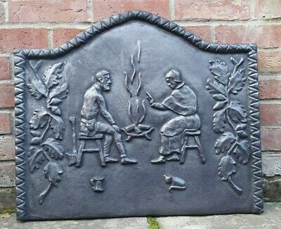 Cast Iron Fire Back - Oak leaves, two people, cat and fire scene - heavy casting