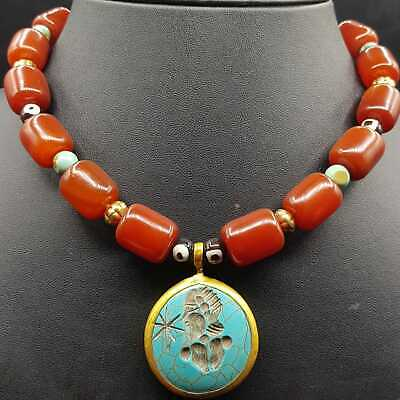 Beautiful old lovely agate and turquoise stone beads necklace