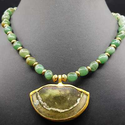 Ancient Roman glass pendant jade stone beautiful necklace