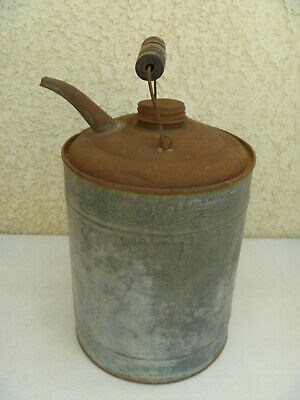 "Metal Vintage Kerosene Can Gas Fuel Oil Spout Wood Handle Galvanized 11.5"" READ"