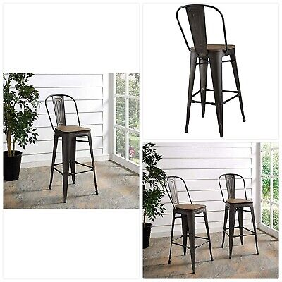 Modway Promenade Industrial Modern Aluminum Bistro Bar Stool with Bamboo Seat in