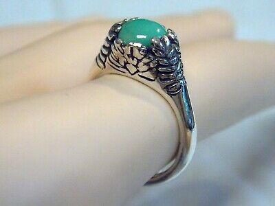 Natural Green Turquoise Antique 925 Sterling Silver Ring Size 5.5 Usa Old Style